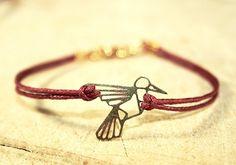 Zartes kolibri Origami Lasercut Wachsarmband rot/goldfarben, 16/17cm, Handmade