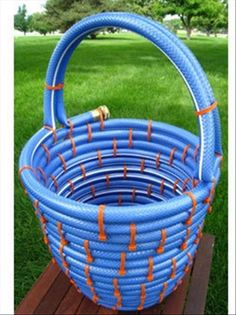 make a basket from your old garden hose