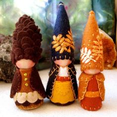 Little Rowan Autumn Leaf Gnome Waldorf by paintingpixie on Etsy wooden elf fairy felt pine cone blue gown brown gown Waldorf Crafts, Waldorf Toys, Steiner Waldorf, Autumn Crafts, Christmas Crafts, Diy Broderie, Crafts For Kids, Arts And Crafts, Clothespin Dolls