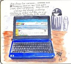 "How to Use Microsoft One Note to Organize Novel Notes. Picture: Acer Aspire One by Robert A. Sloan. Ink and watercolor in 5"" x 8 1/2"" Moleskine watercolor journal.  http://robertsloan2.hubpages.com/hub/How-to-Use-Microsoft-One-Note-to-Organize-Novel-Notes"