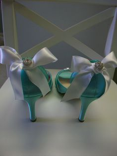 Tiffany Blue White Bow Wedding Shoes Over 100 Colors Choose Your Crystal Bride Bridal Something Blue. $164.00, via Etsy.