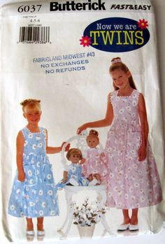 Butterick 6037, Little Girl's Sleeveless Dress and Matching American Girl Doll Size Doll Jumper, Girls Sizes 4, 5 and 6, Uncut by OnceUponAnHeirloom on Etsy