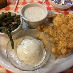 Photo of Mel's Country Cafe - Tomball, TX, United States. Chicken Fried Chicken with Mashed Potatoes & Green Beans