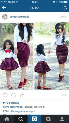 Madre e hija Mother Daughter Matching Outfits, Mother Daughter Fashion, Mommy And Me Outfits, Mom Daughter, Family Outfits, Kids Outfits, Cute Outfits, Outfits Madre E Hija, Baby Dress