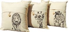"African Linen Blend Throw Pillow Covers Set of 3 Safari Living Room Decor Beige Tweed Rhino Giraffe Lion. ( Pillow insert NOT included ) This set of 3 beautiful linen blend pillow cover features a single wooden button and a unique silk screened whimsical design of a dark brown rhino, giraffe, and lion. It fits an 18"" x 18"" pillow insert (NOT included). This pillow cover is perfect for any room: toss it on the sofa, bed, kitchen chair, or nursery rocking chair to add a bit of hand-made…"