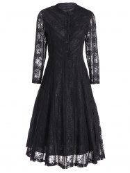 See Through A Line Long Sleeve Lace Dress in Black | Sammydress.com Mobile