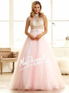 Chevron Strip Prom Dress | Blush Pink Ball Gown | Mac Duggal 48210H