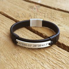 Personalized Coordinate Leather Bracelet with by ShopAnarshe