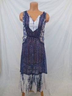 574d394336c2b Details about Anthropologie Meadow Rue Womens Size 6 Shibori Patchwork Dress  Sheer Boho Blue