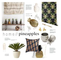 """""""Pineapple Crush"""" by ashley-rebecca ❤ liked on Polyvore featuring interior, interiors, interior design, home, home decor, interior decorating, CB2, W&P Design, H&M and Kiehl's"""