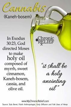 "In Exodus, 30:23, God directed Moses to make a holy anointing oil composed of myrrh, sweet cinnamon, Kaneh-bosem, cassia, and olive oil.  ""And you shall make of these a sacred anointing oil blended as by the perfumer; it shall be a holy anointing oil."""
