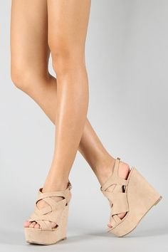 Platform Strappy Cut-Out Wedge Natural