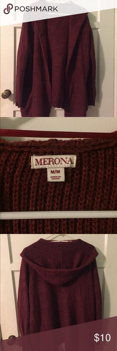 Merona Maroon Chunky Knit Cardigan Chunky knit, open front maroon cardigan with hood and pockets. Merona Sweaters Cardigans