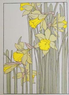 I'd like to get a flower in art nouveau style for a tattoo someday, but haven't decided what kind of flower yet. These daffodils are pretty! Fleurs Art Nouveau, Motifs Art Nouveau, Design Art Nouveau, Motif Art Deco, Art Nouveau Flowers, Art Nouveau Pattern, Art Floral, Art And Illustration, Illustrations