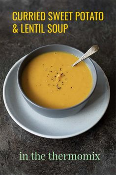 This nourishing Thermomix Curried Sweet Potato and Lentil Soup is a dreamy one pot wonder! It requires minimal effort and is ready on the table in thirty minutes. Lentil Potato Soup, Irish Potato Soup, Lentil Curry, Sweet Potato Soup, Curried Lentil Soup, Sweet Soup, Thermomix Curry, Thermomix Recipes Healthy, Soup Recipes