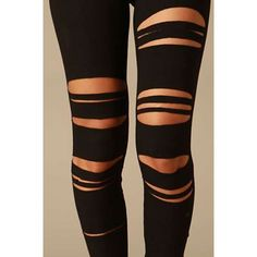 At first sight, ripped leggings may appear to look trashy or unfitting for many occasions but do not Distressed Leggings, Ripped Leggings, Distressed Clothes, Brown Leggings, Brown Pants, Rave Outfits, Night Outfits, Outfit Night, Diy Fashion