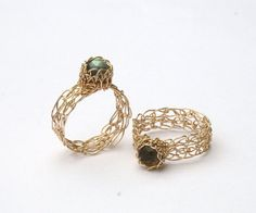 Handmade Wire Crochet Rings by WrappedbyDesign.deviantart.com on @deviantART
