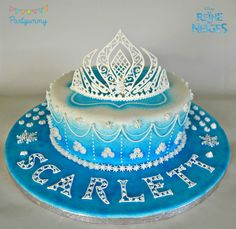 Birthday Cakes - Video tutorial for tiara in royal icing : https://www.youtube.com/watch?v=v2-TR3rzgnM Recipe and steps here : http://partyummy.com/cms/2015/01/gateau-reine-des-neiges-glacage-royal-et-couronne-elsa/