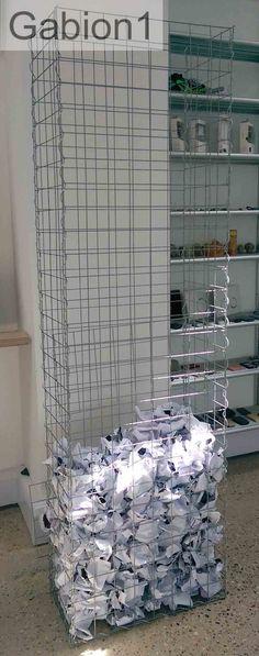 London design Co uses gabion for paper storage http://www.gabion1.co.uk