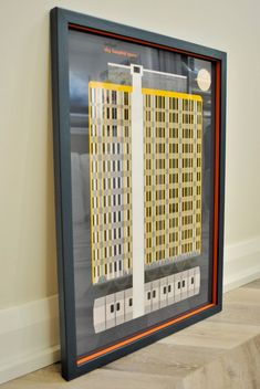 Custom framed with farrow and ball hague blue frame and Charlotte's locks orange insert. Hague Blue, Custom Framing, Galleries, Locks, Locker Storage, Contemporary, Orange, Canvas, Wood