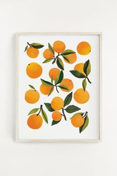 Illustrated art print created from an original acrylic painting by Clementine Kids Made in the USA 11 x 14 inches Printed on Mohawk Smooth Sealed in a cello sleeve with a protective cardboard backing. Frame is not included. Simple Prints, Simple Art, Home Wall Art, Wall Art Decor, Clementine Art, Art Diy, Fruit Painting, Orange Painting, Inspirational Wall Art