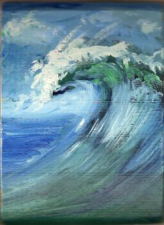 Wave by Bobby Doran - Acrylic on recycled wood***Research for possible future project. Ocean Wave Painting, Ocean Pictures, Wave 3, Sea Art, Seascape Paintings, Recycled Wood, Pictures To Paint, Ocean Waves, Amazing Art
