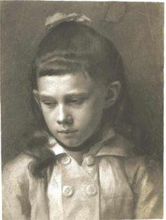 Gustav Klimt (Austrian: 1862 – 1918) - Portrait of a Girl, Head Slightly Turned Left (1879)