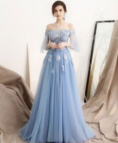 Charming Sky Blue Evening Dresses 2018 A-Line / Princess Off-The-Shoulder Sleeves Appliques Flower Rhinestone Pearl Sweep Train Ruffle Backless Formal Dresses Blue Evening Dresses, Unique Prom Dresses, Blue Wedding Dresses, Pretty Dresses, Evening Gowns, Beautiful Dresses, Formal Dresses, Tulle Prom Dress, Bridesmaid Dress