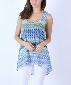 Look at this Collective Rack Blue Geometric Hi-Low Tank on #zulily today!