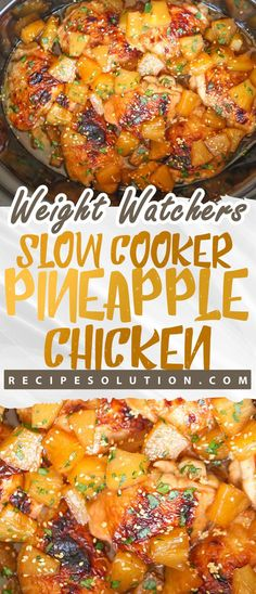 Slow Cooker Pineapple Chicken { Low-Calorie } – Recipe Solution – Famous Last Words Ww Recipes, Slow Cooker Recipes, Crockpot Recipes, Cooking Recipes, Healthy Recipes, Healthy Nutrition, Nutrition Articles, Healthy Eating, Healthy Meala