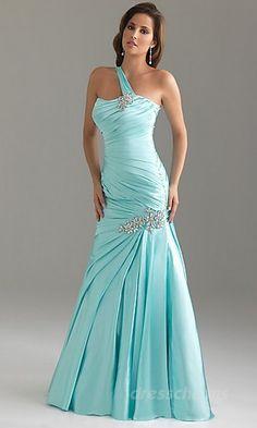 Mermaid Taffeta One-Shoulder Long Dress Charm87739