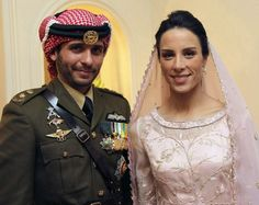 2012 - Jordan's Prince Hamzah Bin al Hussein and his new bride, Princess Basma. The groom wore military garb while his bride, a pilot at the Royal Aero Sports Club of Jordan, looked demure in pale pink.