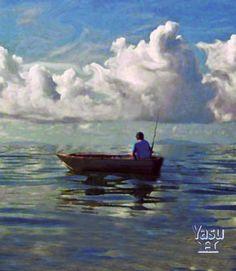 Fisherman at Sea,         24 x 24 Acrylic-mixed media
