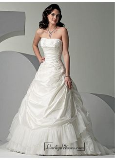 Beautiful Elegant Exquisite Taffeta A-line Wedding Dress In Great Handwork Sale On LuckyDresses.com With Top Quality And Discount