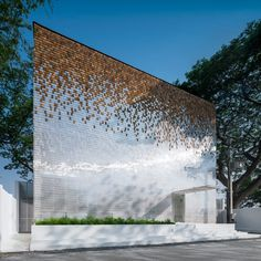 hotel facade department of architecture adds shimmering faade to little shelter hotel in thailand Floating Lantern Festival, Floating Lanterns, Wooden Facade, Metal Facade, Vernacular Architecture, Architecture Photo, Chinese Architecture, Architecture Office, Futuristic Architecture