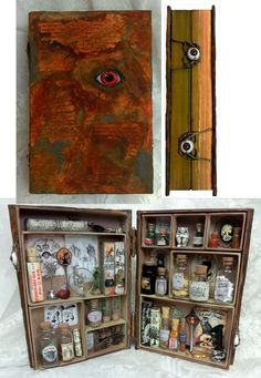 """Boooooook come home or make thyself known"" cries Winnie in the movie Hocus Pocus. This movie is a must see for me every Halloween seas. Potions Book to make Portable apothecary in a book diorama / model. very clear instructions. Wiccan, Magick, Witchcraft, Book Crafts, Arts And Crafts, Objet Harry Potter, Witch Aesthetic, Book Of Shadows, Halloween Crafts"