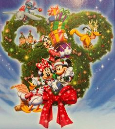 Christmas - Disney - Mickey & Minnie Mouse & Friends Mickey Mouse Art, Mickey Mouse And Friends, Mickey Minnie Mouse, Disney Mickey, Disney Merry Christmas, Mickey Mouse Christmas, Disney Holidays, Christmas Scenes, Craft Ideas
