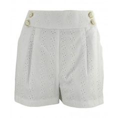 Jane Norman White Anglais Shorts Front Pleats & Pockets Button Detail