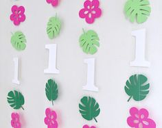 Moana inspired Birthday decorations - 1st birthday garland - Tropical party decor - Hawaiian birthday banners - Moana 1st 2nd 3rd birthday