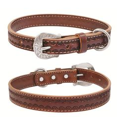 Beautiful handmade leather dog collar for a cowgirl!