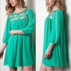 💠💠The MARYKAY caged dress - EMERALD GREEN Super delicate & goddess like beautiful! Lightly lined. I only have EMERALD GREEN AVAILABLE. Naming this after my PFF, @mkaay. ‼️NO TRADE‼️ striped Bellanblue Dresses