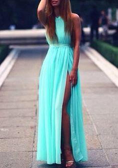 Side Slit Maxi Mint - Adorable Maxi Dress