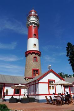 Swakopmund lighthouse and museum. Swakopmund is a city on the coast of western Namibia, Africa 280 km west of Windhoek, Namibia's capital. It is the capital of the Erongo administrative district.