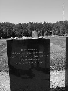 A memory stone dedicated to the women and children who died in Auschwitz