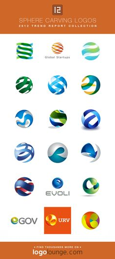 2012 LogoLounge Trend Report Collection - Sphere Carving These three-dimensional looking logos appear to have areas sliced away or carved out to give an even greater sense of depth of the idea of transparency. #logos #LogoLounge #2012