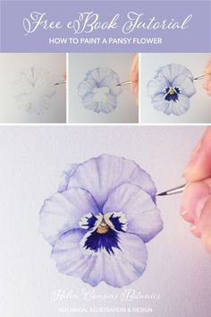 Free tutorial taking you step-by-step painting a lovely pansy with watercolours A lovely botanical illustration project perfect with a cup of tea on the weekend Dip your toes into the world of botanical art and watercolor Less Watercolor Painting Techniques, Watercolor Drawing, Floral Watercolor, Watercolor Trees, Watercolor Background, Watercolor Paintings, Watercolor Pencils, Watercolor Illustration Tutorial, How To Watercolor