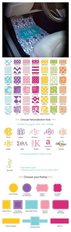 Design Your Own! Over 40 designs to choose from. Personalized / Monogrammed Car Mats on Etsy $75.00 Adorable sweet sixteen birthday gift idea. www.SasssySouthernGals.etsy.com
