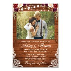 Rustic Wedding Floral Wood Lights Lace Photo Invitation Burgundy Wedding Invitations, Summer Wedding Invitations, Watercolor Wedding Invitations, Floral Invitation, Wedding Stationery, Red Roses And Sunflowers, Country Wedding Photos, Photo Invitations, Invites