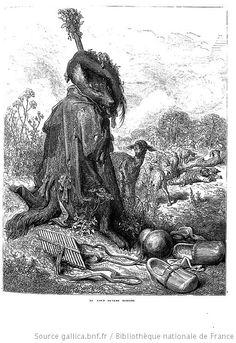 Le loup devenu berger. Illustration des Fables de Jean de la Fontaine par Gustave Dore