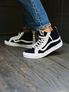 Vans Navy / White Embossed Hi Top at Free People Clothing Boutique Dr Shoes, Sock Shoes, Cute Shoes, Me Too Shoes, Shoe Boots, Shoes Sneakers, Mens Vans Shoes, Hi Top Vans, High Top Vans Outfit